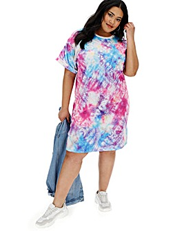 Multi Tie Dye T-Shirt Dress