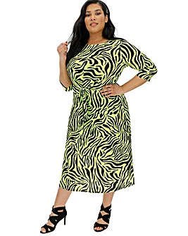Lime Zebra Tie Front Dress