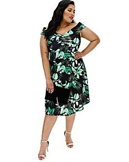 Black Tropical Bardot Prom Dress