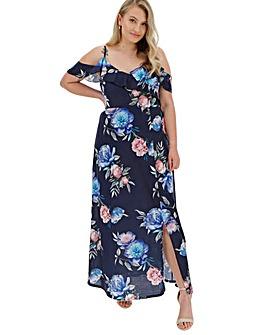 Navy Floral Cold Shoulder Maxi Dress