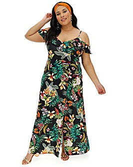 Black Tropical Cold Shoulder Maxi Dress