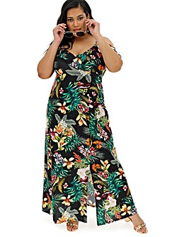 Black Tropical Cold Shoulder Maxi