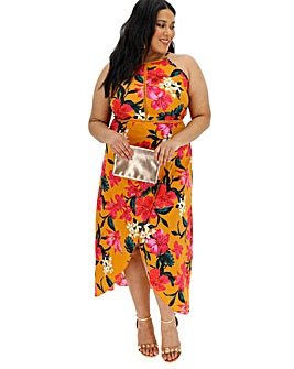 Ochre Tropical Ladder Trim Maxi Dress