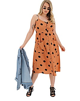 Black Polka Dot Button Sundress