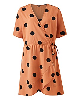 Black Polka Dot Wrap Frill Dress