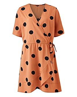 Black Polka Dot Wrap Frill Dress