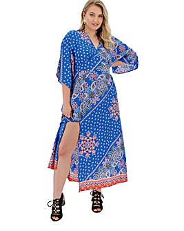Cobalt Paisley V Neck Maxi Dress