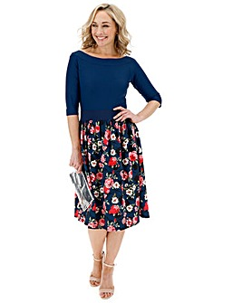 Navy Floral Prom Dress