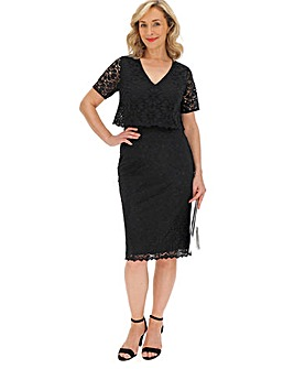 Black Double Layer Lace Dress