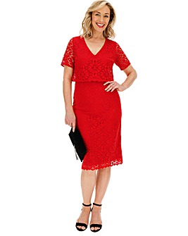 Red Double Layer Lace Dress