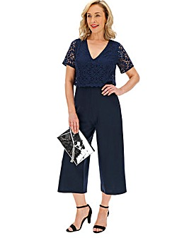 Navy Lace Double Layer Jumpsuit