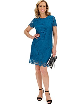Teal Lace Shift Dress