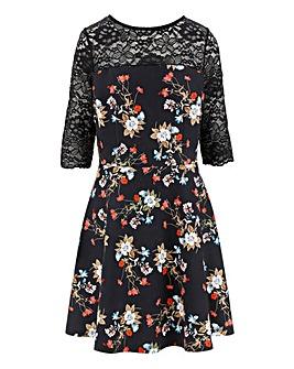 Printed Lace Trim Prom Dress