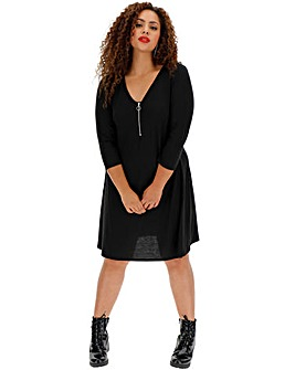 Black Jersey Swing Dress