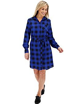 Cobalt Check Tie Waist Shirt Dress