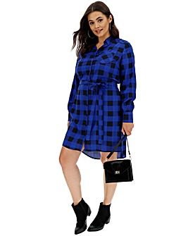 Cobalt Check Tie Waist Shirt Dress