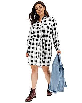 Mono Check Tie Waist Shirt Dress