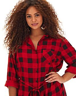 Red Check Tie Waist Shirt Dress