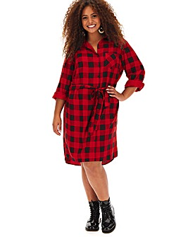 Red Check Tie Waist Shirt Dress