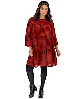 Red Check Tiered Smock Dress