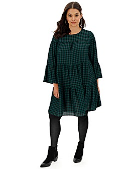 Green Check Tiered Smock Dress