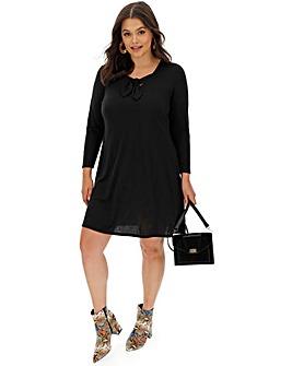 Black Knot Front Jersey Swing Dress