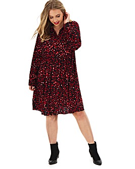 Heart Printed Smock Shirt Dress