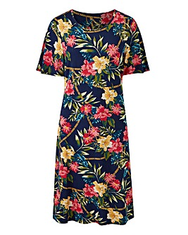 Multi Floral Short Sleeve Swing Dress