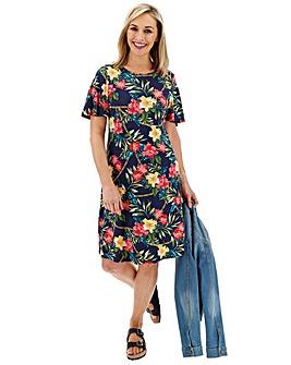 Multi Floral Short Sleeve Swing Dress
