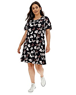 Butterfly Print Short Sleeve Swing Dress