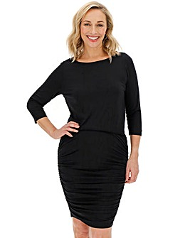Black Jersey Ruched Bodycon Dress