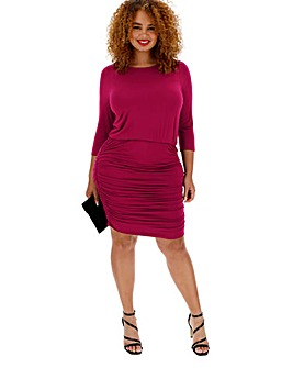 Berry Jersey Ruched Skirt Dress