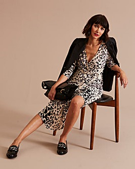 Animal Print Buckle Detail Dress