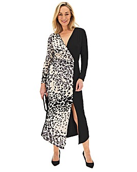 Animal Print Contrast Wrap Dress