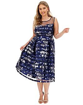 Navy Floral Print Skater Dress