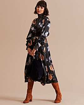 Midi Stretch Satin Shirt Dress