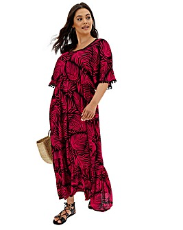 Square Neck Crinkle Maxi Dress