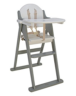 East Coast Wooden Folding Highchair - White/Grey
