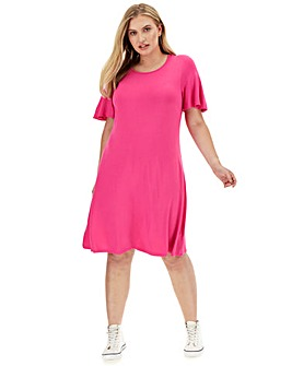 Pink Short Sleeve Swing Dress