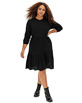 Black Ribbed Smock Dress