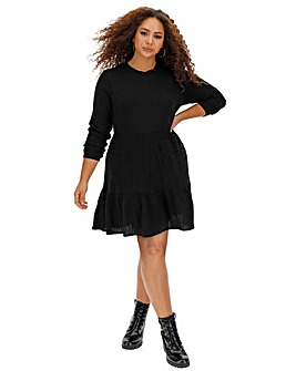 Black Ribbed Tiered Smock Dress
