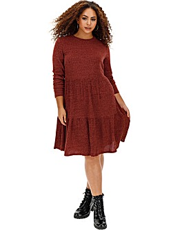 Dark Merlot Ribbed Smock Dress