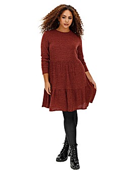 Dark Merlot Ribbed Tiered Smock Dress