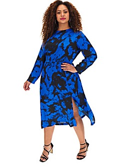 Satin Tie Dye Midi Dress