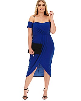 Cobalt Bardot Wrap Midi Dress
