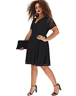 Black Lace Wrap Skater Dress