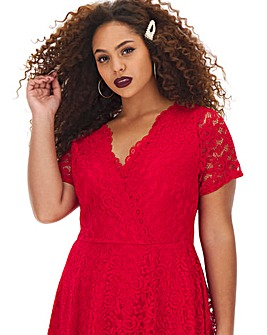 Red Lace Skater Dress