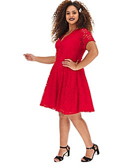 Red Lace Wrap Skater Dress