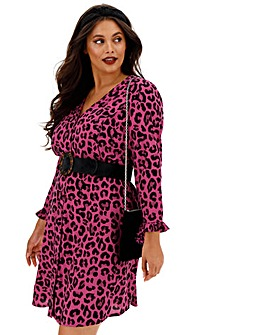 Animal Print Button Through Tea Dress