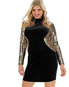 Sequin Sleeve Velour Bodycon Dress